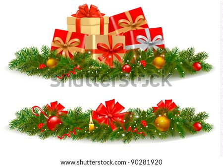 Two christmas banners. Vector. - stock vector