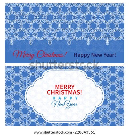 two christmas cards with floral pattern and white frame