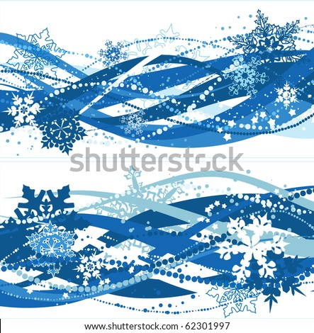 Two christmas compositions with blue snowflakes - stock vector
