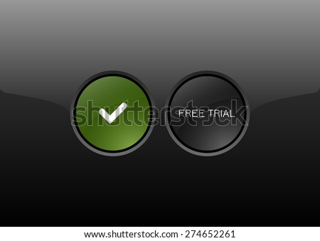 Two circles as modern glossy buttons FREE TRIAL. Vector icons.