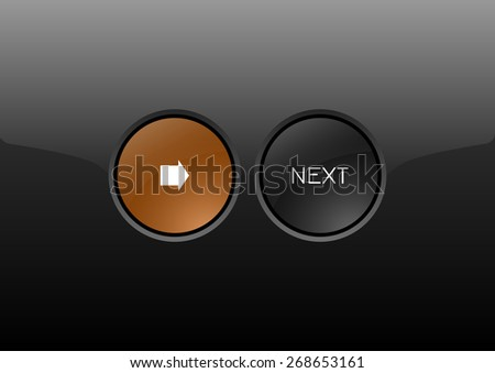 Two circles as modern glossy buttons NEXT. Vector icons. - stock vector