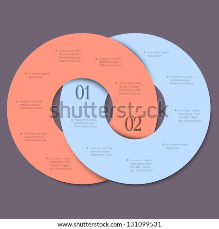 Two circles - trendy design template for infographics and website templates or design graphic for business. Vector EPS10 - stock vector
