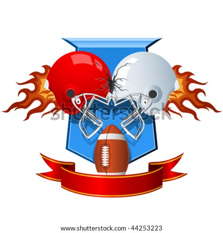 Two clashing sport Helmets for American Football - stock vector
