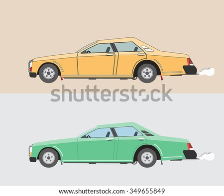 two classic car yellow and green color
