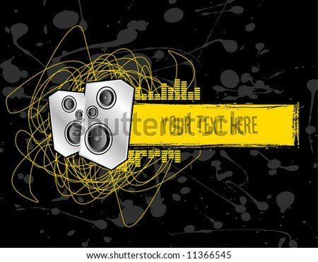 two club speakers set on a grunge text banner - stock vector