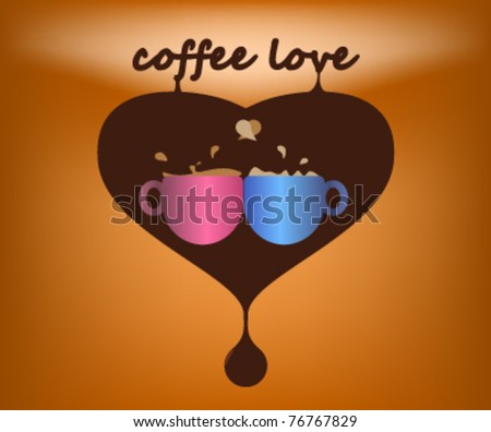 Two coffee cups in heart - stock vector