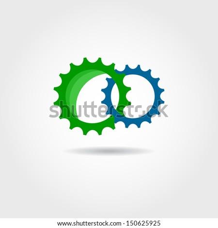 Two cogwheels. Concept vector symbol - stock vector