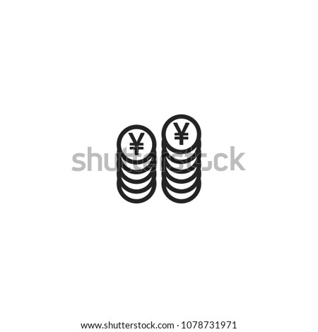 Two Coin Stacks Yenyuanrenminbi Currency Symbol Stock Vector