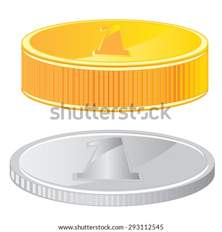 Two coins gold and metallic on white background is insulated - stock vector