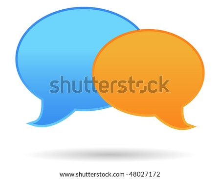 two color speak bubbles in vector mode - stock vector