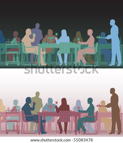 Two color versions of the same editable vector scene of people eating in a restaurant - stock vector