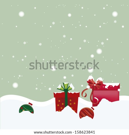 two colored balls with two boxes with ribbons in a white background - stock vector