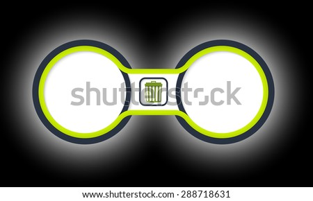 Two colored circular frames for your text and trashcan - stock vector