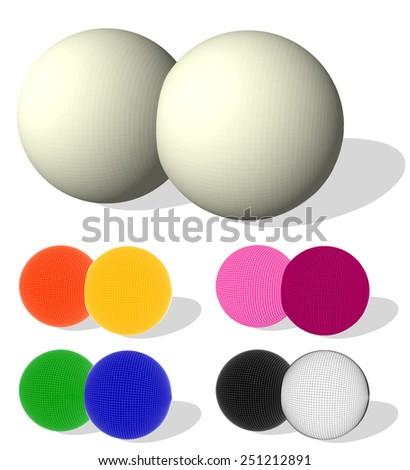 Two colored spheres  isolated on white. Vector illustration for your design. - stock vector
