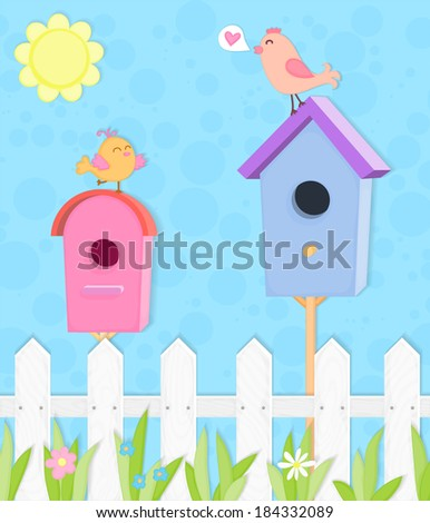 Two colorful nesting boxes with funny birds, paper stylized