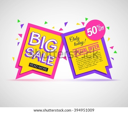 Two colorful Sale Banner with text. Vector eps 10 format.