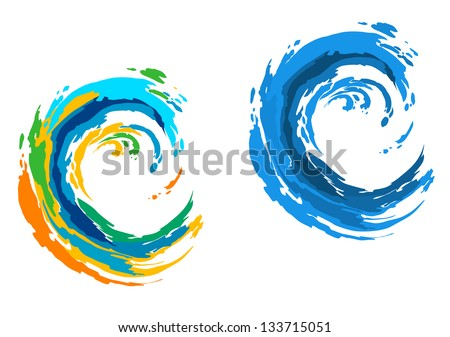 Two colorful waves for serfing sports or another design. Jpeg (bitmap) version also available in gallery - stock vector