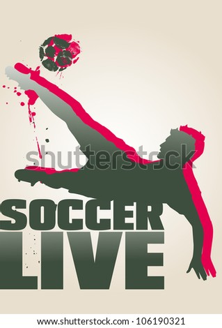 Two-colour poster of a soccer player kicking a soccer ball. - stock vector