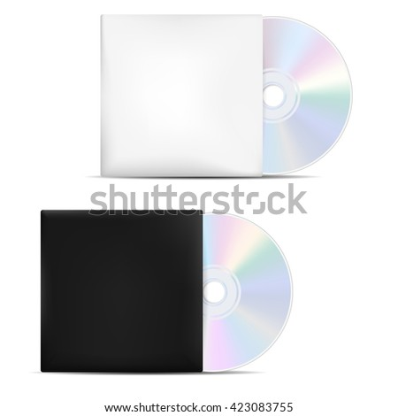 Two compact discs in light and dark blank covers - isolated on white background. Vector illustration. - stock vector