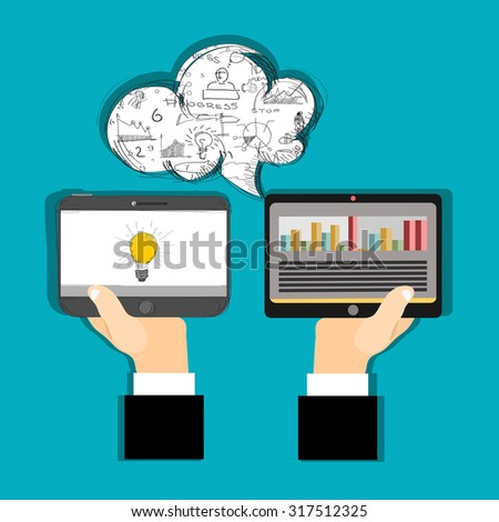 Two computer tablet and Hands, concepts for business, finance, consulting, management.Concepts for web banner and printed materials. - stock vector