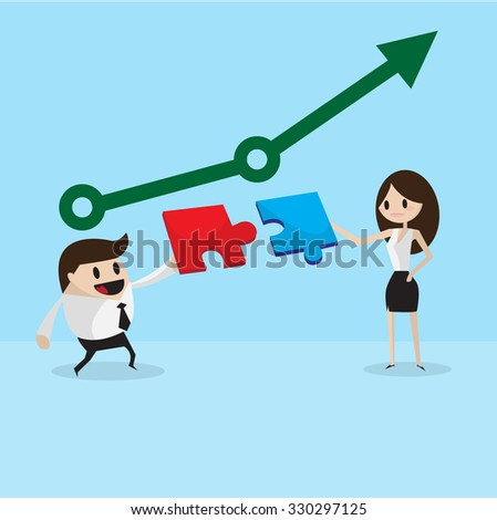 Two confident business people trying to connect small pieces of puzzle at office,vector cartoon business - stock vector