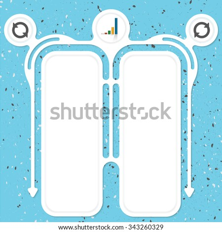 Two connected frames for your text and a graph - stock vector