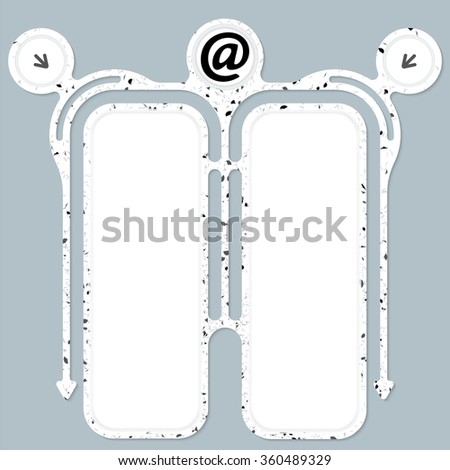 Two connected frames for your text and email icon - stock vector