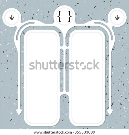 Two connected frames for your text and square brackets - stock vector
