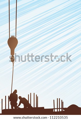 Two construction workers with crane; background - stock vector