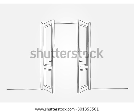 Two contoured doors opening to the light - stock vector