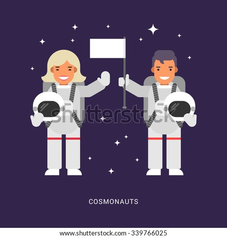 Two Cosmonauts. Male and Female Cartoon Characters Astronaut. Flat Style Vector Illustration - stock vector