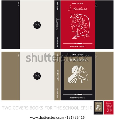 Two covers for books of literature and history - stock vector