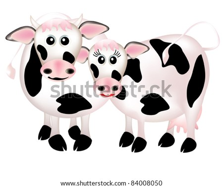 Two cows in love, cartoon
