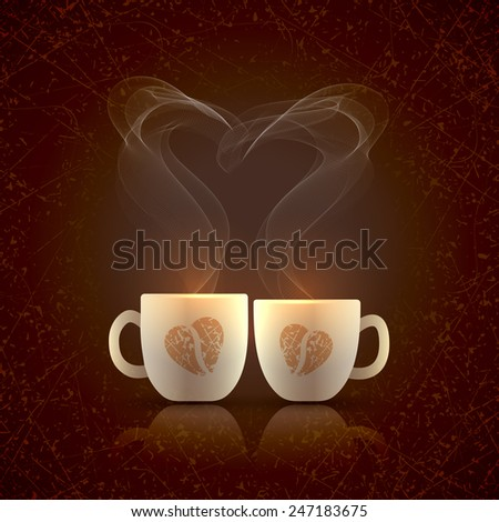 Two cream color cups, decorated with coffee beans in the form of heart, stand together with fragrant steam in the form of heart on a dark grungy background on Valentines Day - stock vector