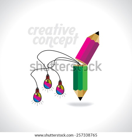 two creative pencil with bulb idea concept  - stock vector