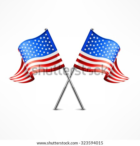 Two crossed American flag isolated on white, vector illustration - stock vector