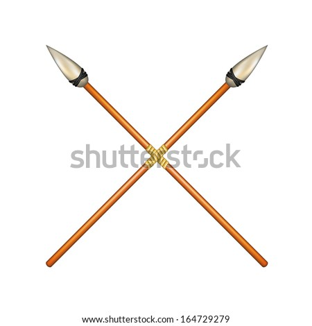 Two crossed ancient spears - stock vector