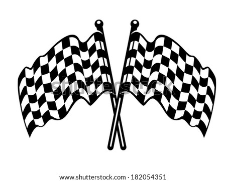 Two crossed black and white checkered flags logo with the fabric waving in the breeze as used on the finishing line in motor sports - stock vector