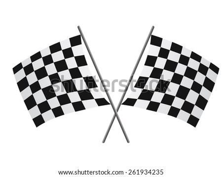 Two crossed checkered flags - stock vector