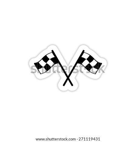 two crossed checkered flags icon on a white background with shadow - stock vector