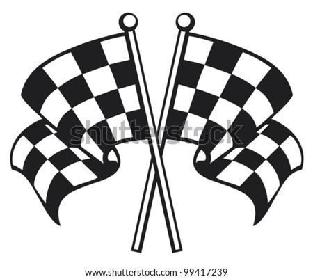 two crossed checkered flags (racing checkered flag crossed, finishing checkered flag, finish flags) - stock vector