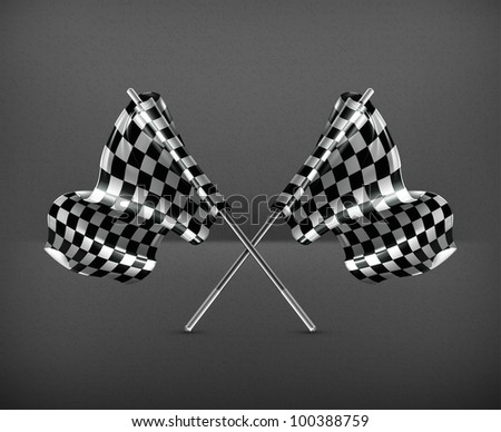 Two crossed checkered flags, vector - stock vector