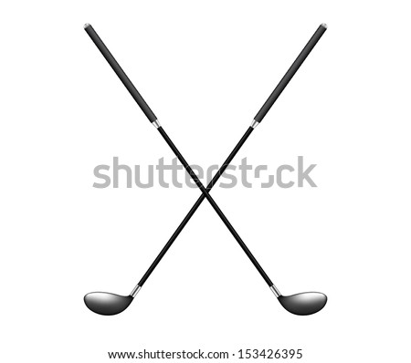 Two crossed golf clubs - stock vector