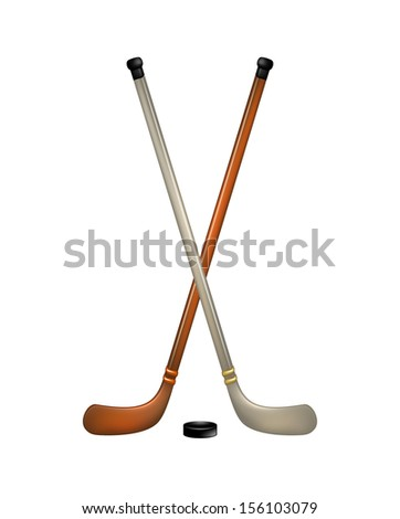 Two crossed ice hockey sticks and puck  - stock vector
