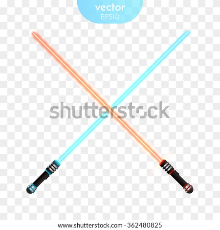 Two Crossed Light Swords Fight. Red and Blue Crossing Lasers. Vector illustration - stock vector