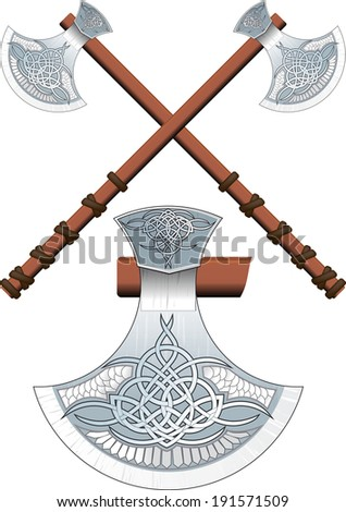 Two crossed ornate Celtic ax on a long handle - stock vector