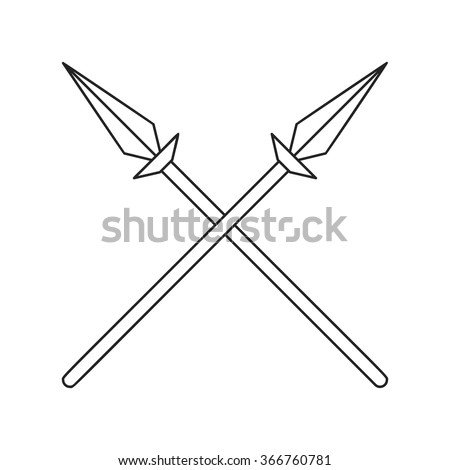 Two crossed spears thin line icon on a white background - stock vector