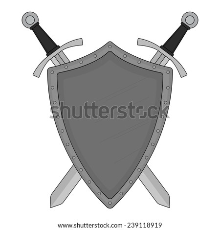 Two crossed swords steel shield heraldry emblem. Security logo. Clip art color vector illustration isolated on white - stock vector