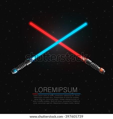 Two crossing futuristic light swords. Vector illustration - stock vector