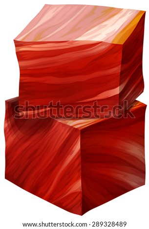 Two cubes of red meat on a white background